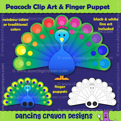 peacock clipart and peacock finger puppet