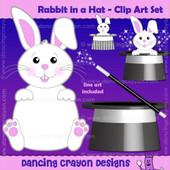 Rabbit in a hat clipart - magic rabbit