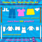 Clothes Clip Art: Clothes Line and Clothes Pins Clipart Set