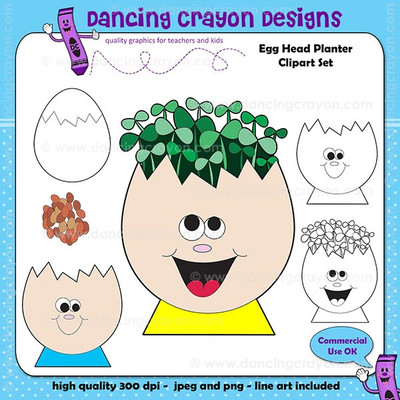 Egg head planter clipart.  Seeds and seedlings.  Cress seeds clipart.