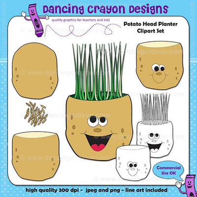 Mr. Potato head clipart set.  Potato face with grass hair.