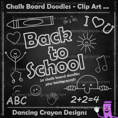 Chalk board doodles - clip art set