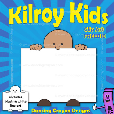 free clipart: Kilroy-style kid holding sign