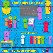 Stick Figures at School - Scribble-Effect Clip Art
