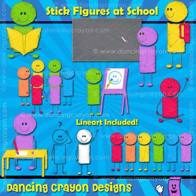 Stick Figures at School - Scribble-Effect Clip Art