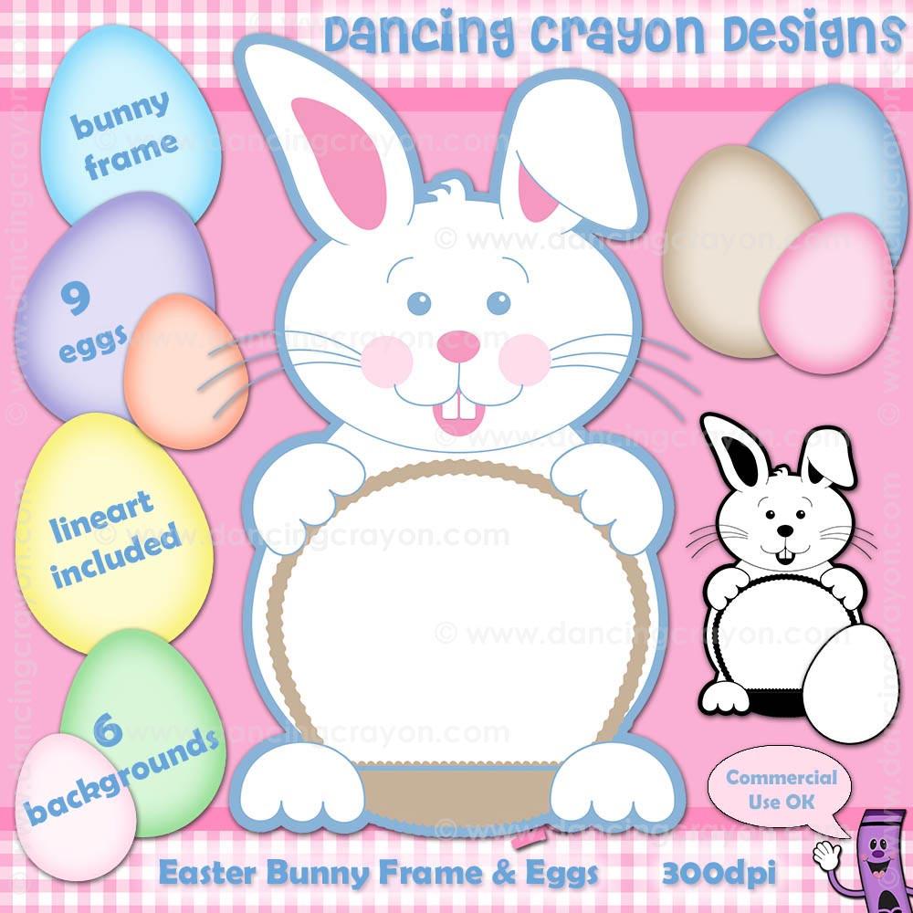 easter bunny clip art frame eggs background graphics
