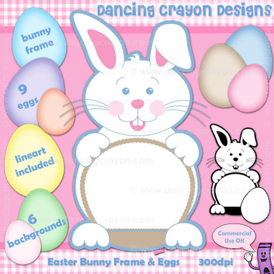 Easter Bunny Clip Art: Frame, Eggs, Background Graphics