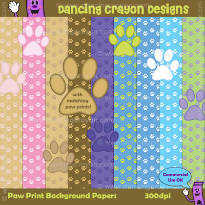 Backgrounds: Paw Print Backgrounds with Matching Paw Prints Clip Art