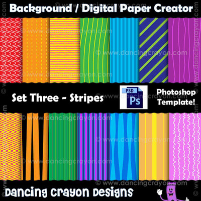 Digital paper template - photoshop template - striped paper template