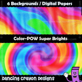Backgrounds: Super Bright Psychedelic Rainbows - Digital Papers