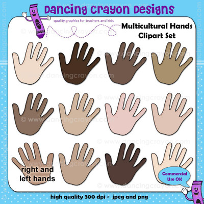Multicultural Hands Clip Art