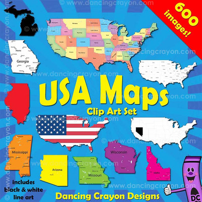 USA Maps Clip Art: Maps of the USA and Individual US States
