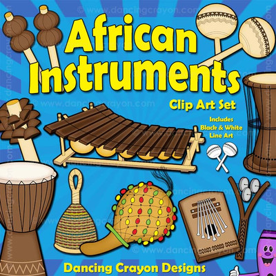 African Instruments: Musical instrument clip art