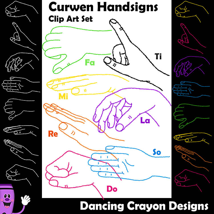 kodaly curwen hand signs scribble style clip art