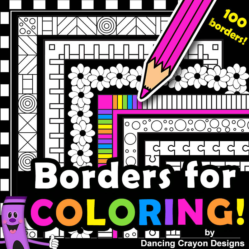 Borders For Coloring 100 Black And White Borders And Frames Clip Art Bundle