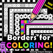 Borders for coloring.  Black and white page borders for coloring in.  Great for creating worksheets and activity pages.