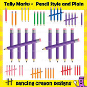 Tally mark clipart in three styles: pencil tally marks, shiny tally marks, and plain tally marks.