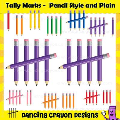 Tally mark clipart in three styles: pencil tally marks, shiny tally marks, and plain tally marks.
