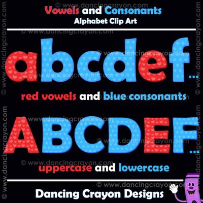 consonants and vowels clipart alphabet