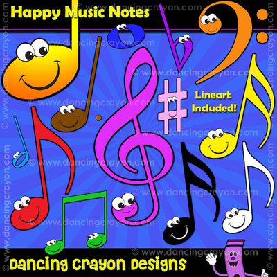Music note clipart with happy faces