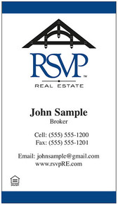 RSVP vertical logo printed on 12 point Kromekote glossy business card stock.