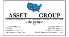 USA Asset Group logo printed on 12 point Kromekote glossy business card stock.