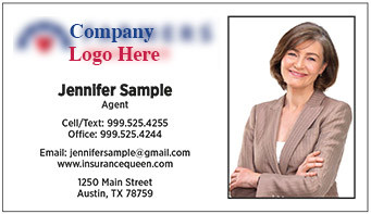 Farmers Insurance logo and your photo, printed on 12 point Kromekote glossy business card stock.