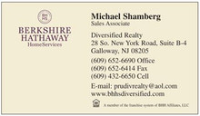 Berkshire Hathaway Home Services logo printed on 12 point Kromekote glossy business card stock.