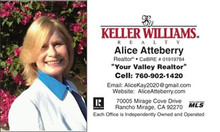 Keller Williams logo printed on 14 point or upgrade option to 16 point card stock. Printed on a white background with UV gloss coating on the front. Optional full color back printing.