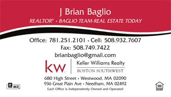 Keller Williams logo printed on 14 point or upgrade option to 16 point card stock. Printed on a white background, a red and black swoosh, with UV gloss coating on the front. Optional full color back printing.