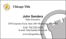Chicago Title logo printed on 14 point or upgrade option to 16 point card stock. Printed on a background color of your choice or with any image of your choosing, with a personal photo or without, with UV gloss coating on the front. Optional full color printing on the back of the card too.