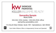 Keller Williams newest logo printed on 12 point Kromekote glossy business card stock.