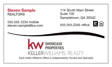 Keller Williams newest logo printed on 12 point Kromekote glossy business card stock.