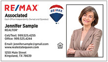 RE/MAX logos printed on 14 point or upgrade option to 16 point card stock. Classic white background with UV gloss coating on the front. Optional full color back printing.