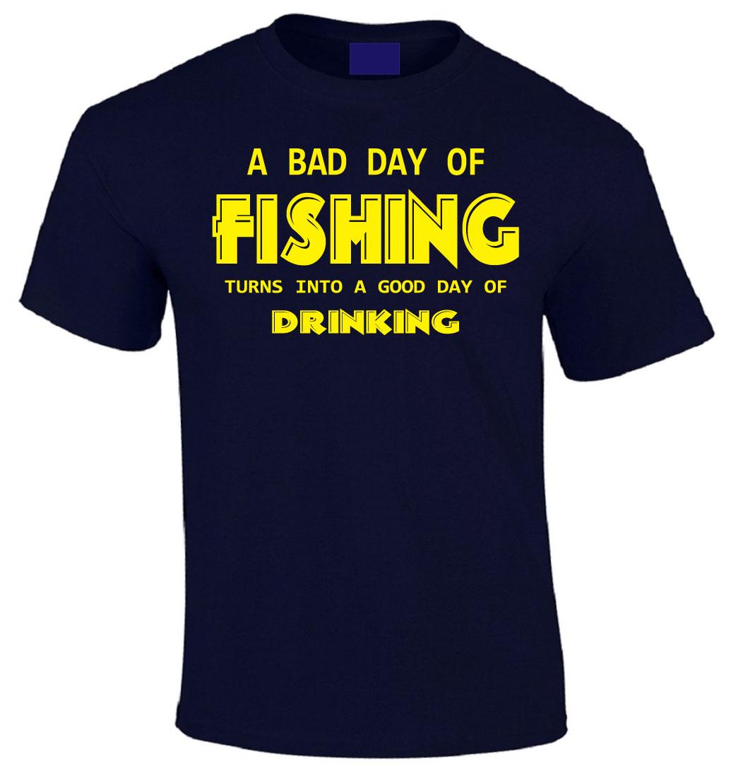 Rather A Bad Day Fishing Mens Funny Fisherman T-Shirt Angler Angling Fish Rod