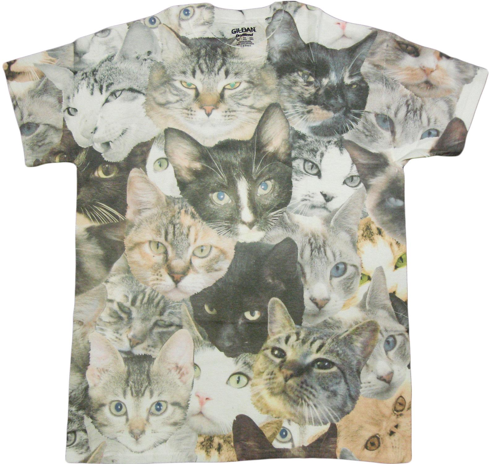 89c1c11f6248 Details about Cat Faces Print Sublimated Adult T-Shirt - Grumpy Cat Lovers  Pet Pusheen Gift