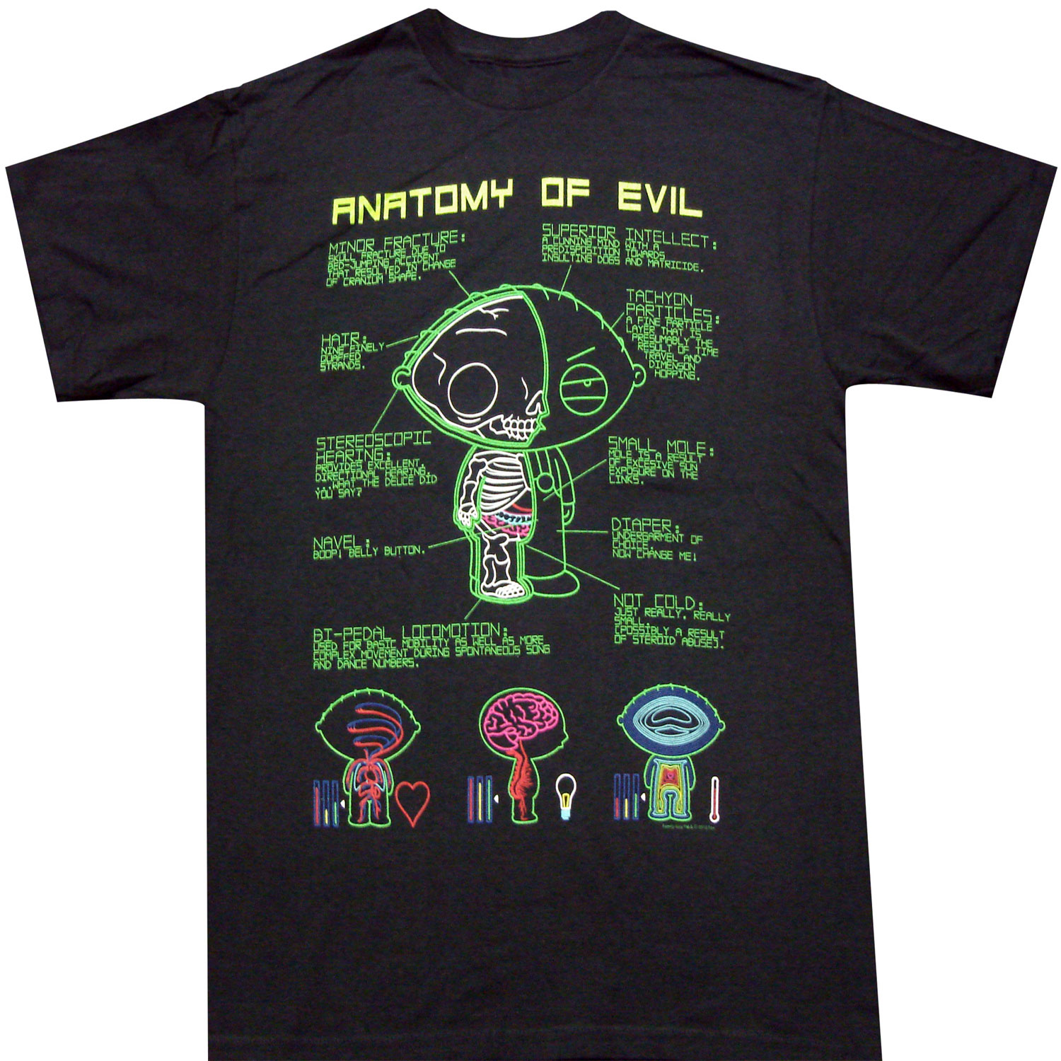 Family Guy Stewie Anatomy of Evil Adult T-shirt -Griffin Family ...