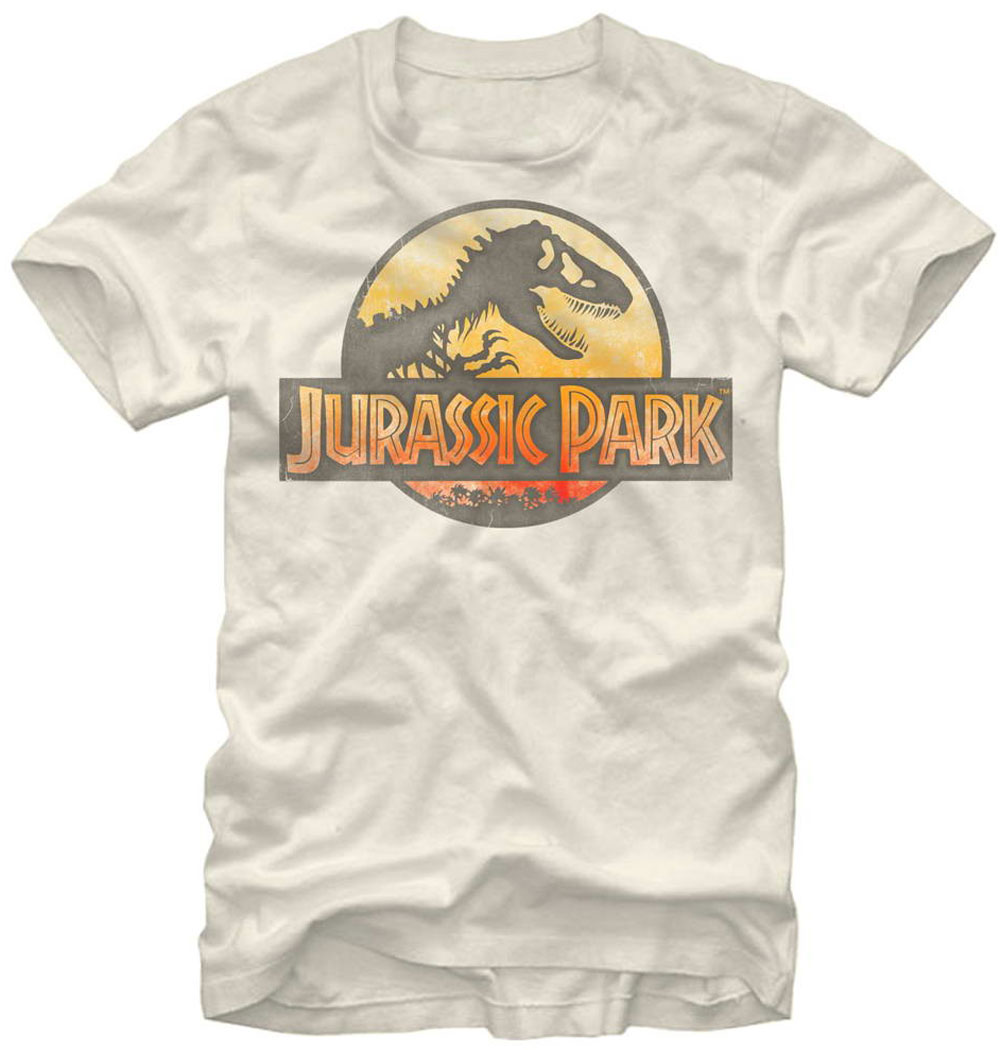 Jurassic Park Official Mens Retro T Shirt Natural NEW Dinosuar Movie Teeshirt