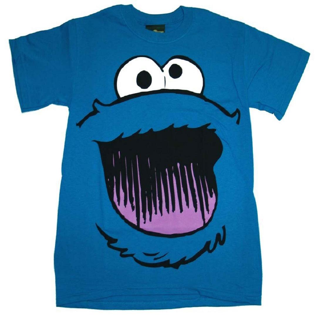 d7f3a8af3 Details about Official Sesame Street Cookie Monster Smile Face T-shirt -  Elmo Ernie Oscar Tee