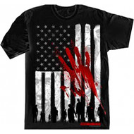 The Walking Dead American Flag & Bloody Hand Adult T-Shirt