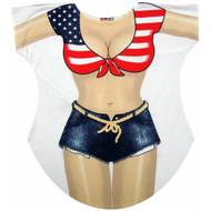 Miss America Bikini Cover up T-shirt Lady's Fun Wear