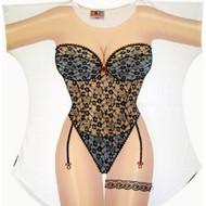 Black Lingerie Bikini Cover up T-shirt Lady's Fun Wear