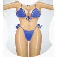 Blue Macrame Bikini Cover up T-shirt Lady's Fun Wear