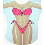 Hot Pink Bikini Cover up T-shirt Lady's Fun Wear