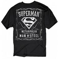 Superman Metropolis Man Of Steel Filigree Adult T-Shirt