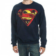 DC Comics Superman Distressed Logo Adult Crew Sweatshirt