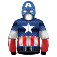 Marvel Comics Captain America Sublimated Costume Adult Zip Up Hooded Fleece