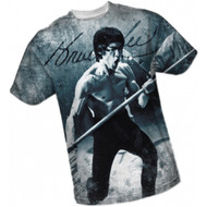 Bruce Lee All Over Front Print Sports Fabric T-shirt