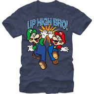 Nintendo Mario And Luigi Up High Bro Adult Navy Blue T-shirt