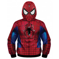 Marvel Comics Spiderman Real Classic Sublimated Costume Adult Zip Up Hooded Fleece